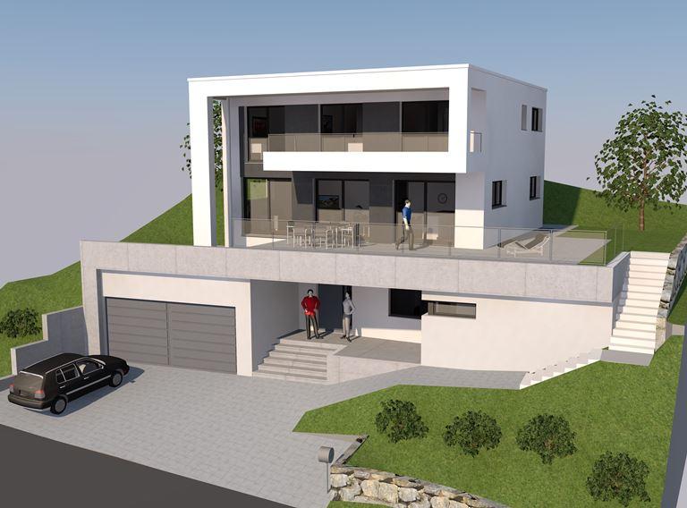 Studie Variante moderne Architektur Familie Garten Bauleitung Planung Kaltbrunn Ronner Design zeitgenössich modern kubisch 3D Visualisierung Perspektive