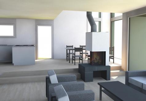Cheminee Neubau Ofen Feuer Holz Design