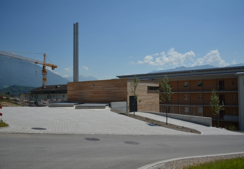 Neubau Industriebau Heitzung Schnitzelheizung Altersheim Kaltbrunn Ronner Architektur Bauleitung Planung sonnig Holzfassade Holz Heitzung