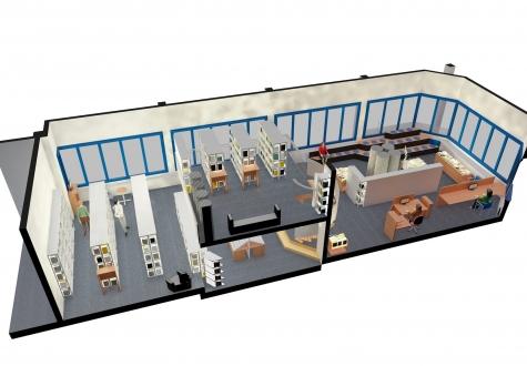 Umbau Bibliothek Schulbibliothek Kaltbrunn Bücher Lesen Planung Ronner Architektur Bauleitung Kinder Umbau neu Materialisierung zeitgenössisch Visualisierung 3D Perspektive