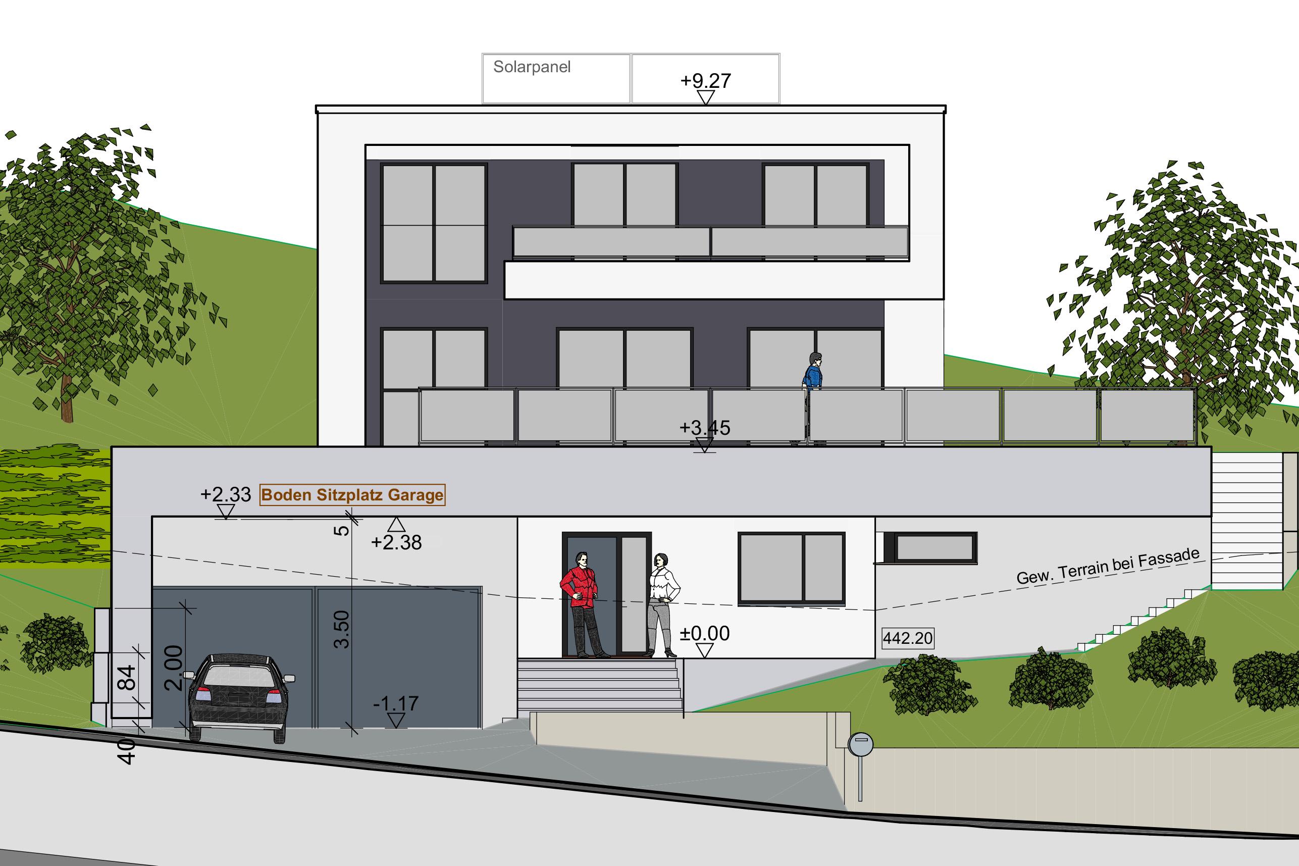 Studie Variante moderne Architektur Familie Garten Bauleitung Planung Kaltbrunn Ronner Design zeitgenössich modern kubisch Visualisierung Ansicht Südfassade Plan