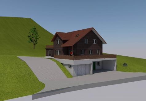 Neubau Umbau Architektur Ronner Bauleitung Planung Kaltbrunn Landwirtschaft alt Haus typisch Schweiz Visualisierung 3D Perspektive Computeranimiert Animierung